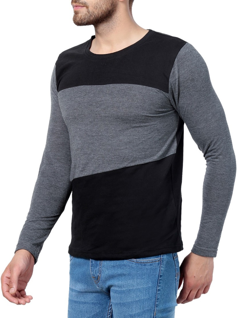 d64a48a7f753 Buy Black Cotton Color Block T-shirt by Pause - Online shopping for T-shirts  in India | 15219386