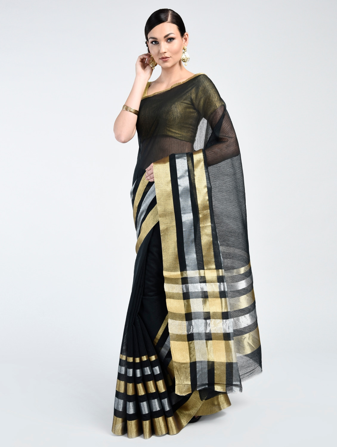 69e5cef001 Black Art Silk Banarasi Saree With Blouse