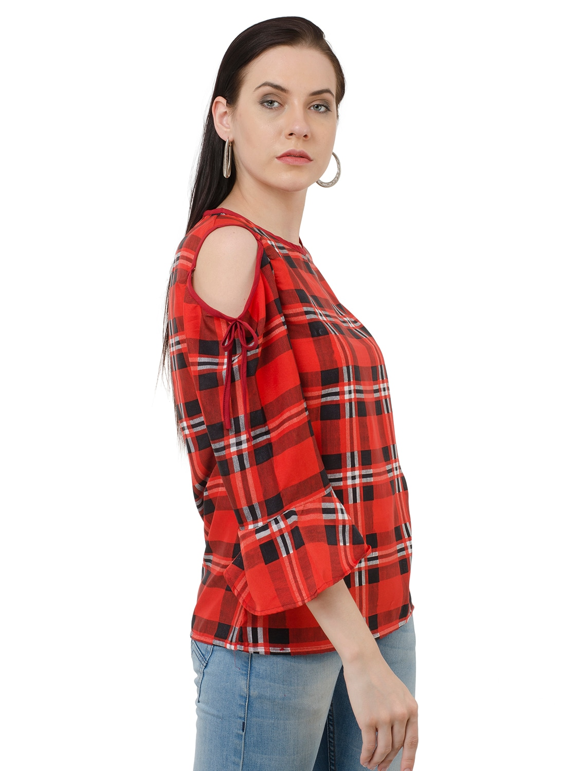 f3b602fd17764 Buy Red Checkered Cold Shoulder Top by Anshiroyal - Online shopping for Tops  in India