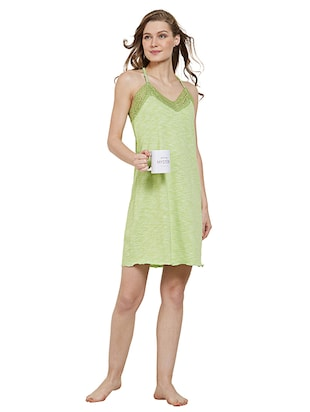 green cotton nighty - 15230814 - Standard Image - 4