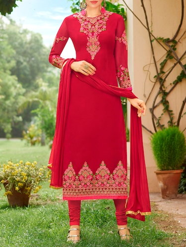 Red embroidered semi-stitched churidaar suit - 15231454 - Standard Image - 1