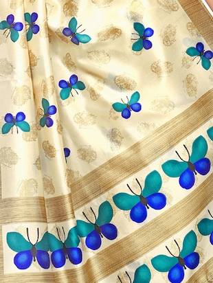 beige art silk maheshwari saree with blouse - 15235881 - Standard Image - 4