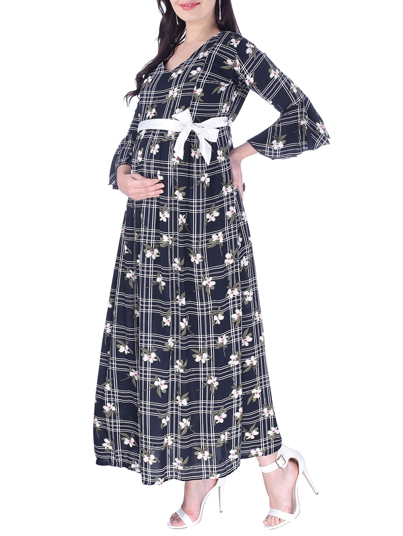 aa8581bc56cbf Buy Belted Maxi Maternity Dress for Women from Momtobe for ₹1724 at 32% off  | 2019 Limeroad.com