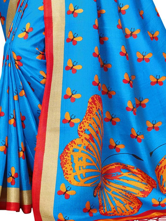 6fa981f27091eb ... sky blue silk blend printed saree with blouse - 15237613 - Zoom Image -  4