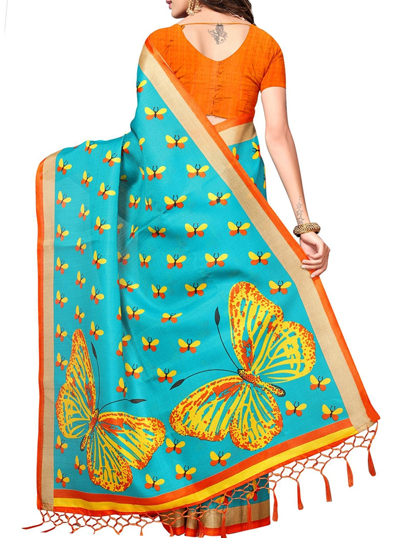 1043b365e285f3 Buy Sky Blue Silk Blend Printed Saree With Blouse for Women from Blissta  for ₹761 at 39% off