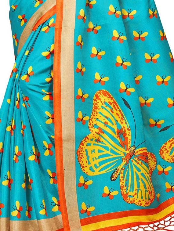 b808253f26d50d ... sky blue silk blend printed saree with blouse - 15237617 - Zoom Image -  4