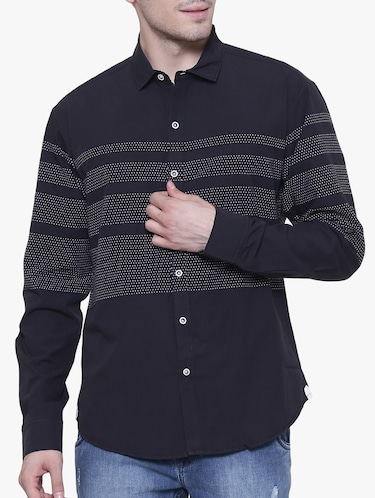 black cotton casual shirt - 15238936 - Standard Image - 1