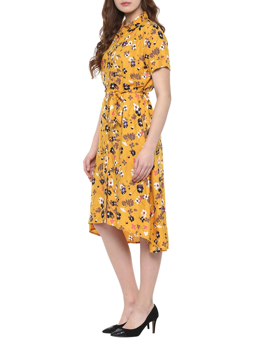 11fa9ffd2e3b Buy Yellow Floral Rayon Shirt Dress for Women from Zoys for ₹967 at 43% off