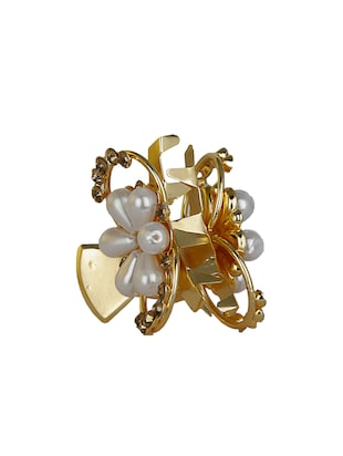 AccessHer Gold & White Color Brass Material With Cubic Zirconia Stone Butterfly clip For Women - 15242139 - Standard Image - 4