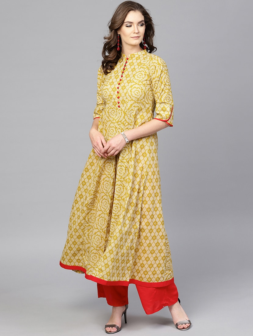 6bacd00bd6 Buy Yellow Cotton Aline Kurta for Women from Gerua for ₹959 at 40% off |  2019 Limeroad.com