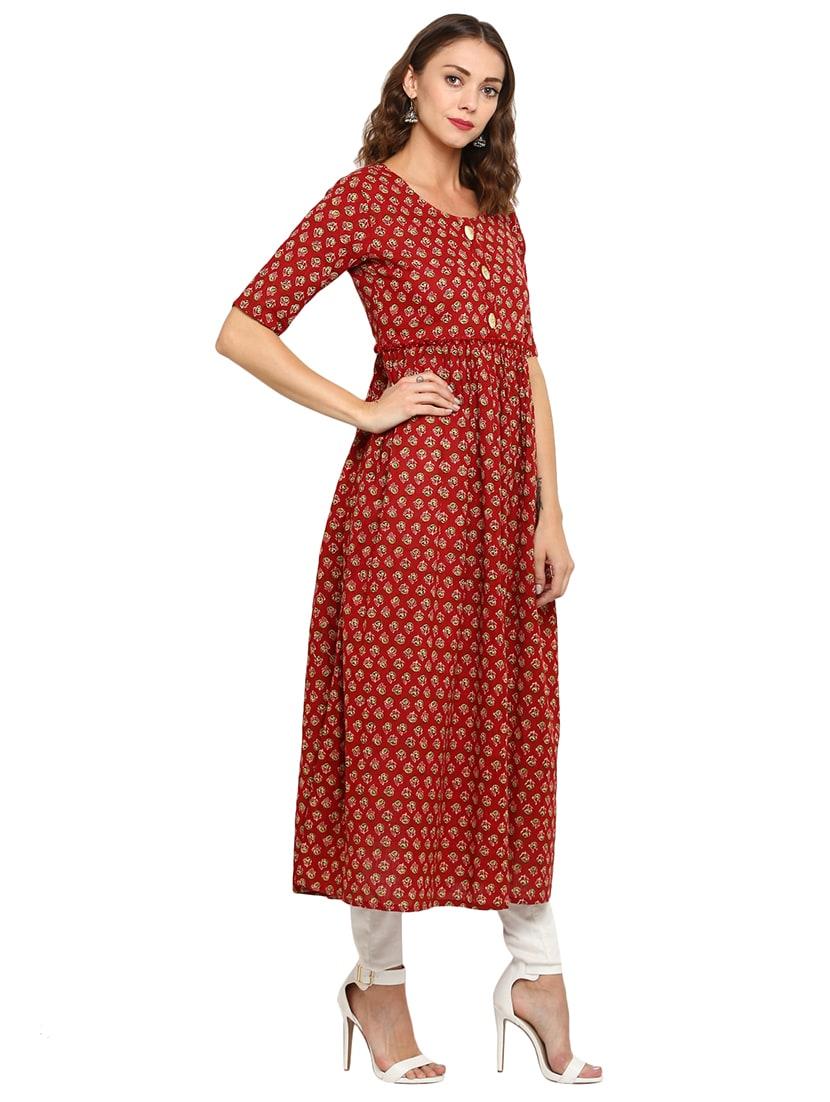26c816ca959 Buy Printed Flared Kurta by Janasya - Online shopping for Kurtas in India