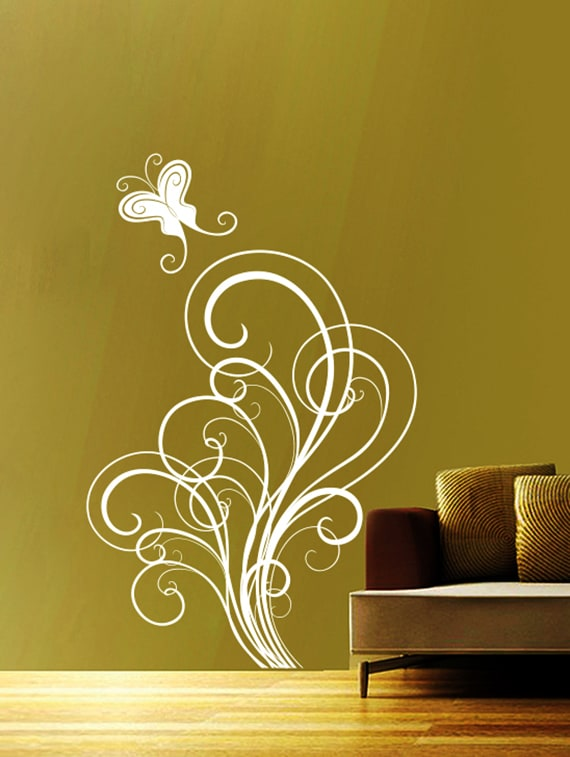 buy butterfly swirls wall decaldecor kafe - online shopping for