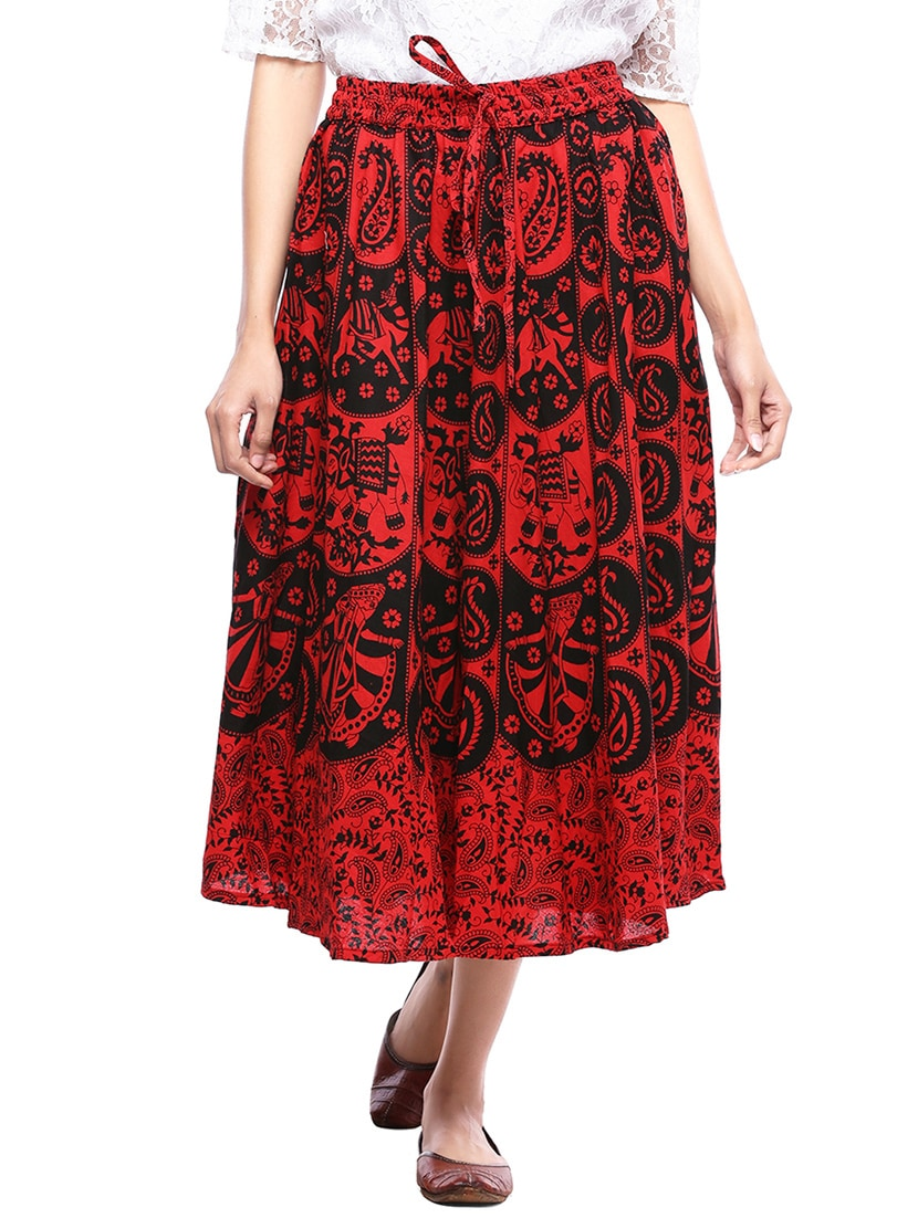 92cbcd21afa Buy Red Cotton Flared Skirt by Soundarya - Online shopping for Skirts in  India