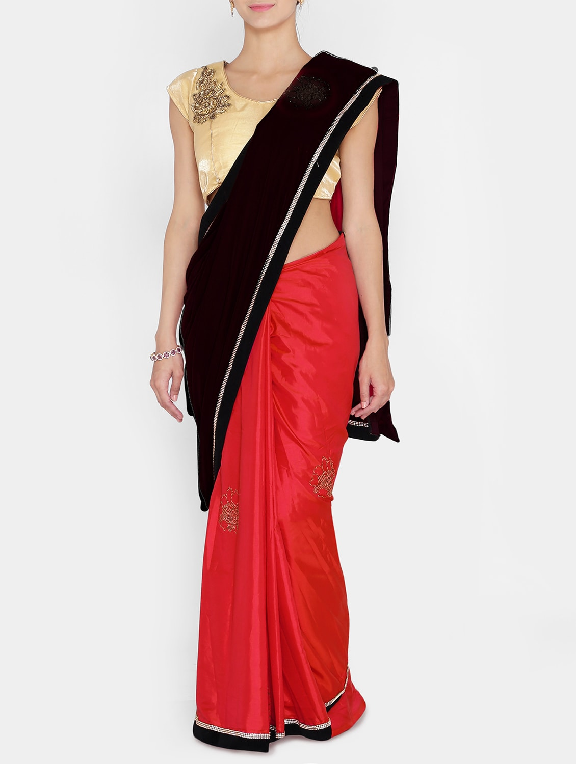 3c66067d429281 Buy Black Velvet Half   Half Saree With Blouse for Women from Chhabra555  for ₹2301 at 61% off