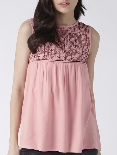 pink rayon embroidered top - 15260026 - Standard Image - 1