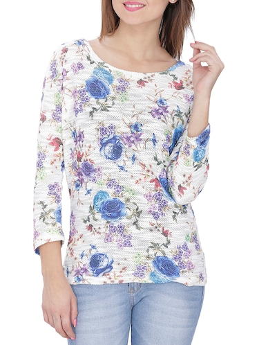 41bba1a5830d Buy White Floral Georgette Top for Women from Marie Claire for ...