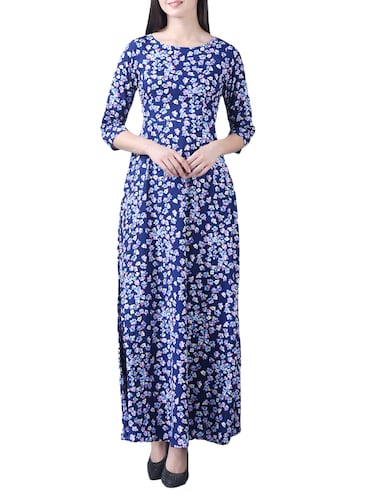 navy blue crepe floral maxi dress - 15264405 - Standard Image - 1