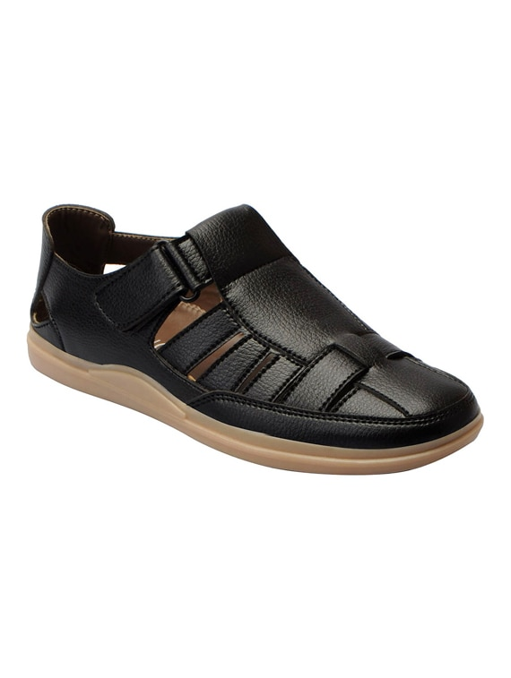 16b7828eb0ea Buy Black Faux Leather Back Strap Sandal for Men from Fausto for ₹899 at 0%  off