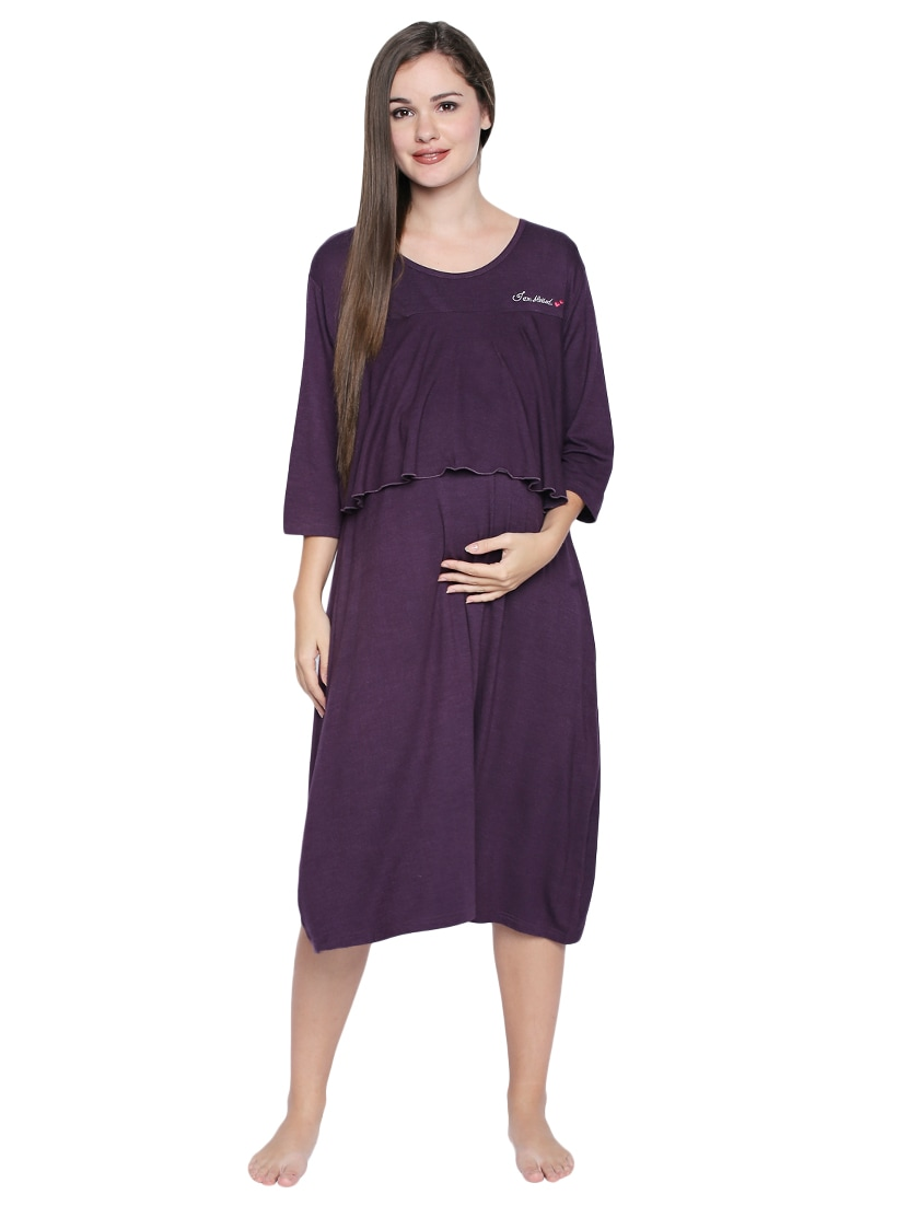 876598d6af0 Buy Purple Maternity Wear Nighty for Women from Valentine for ₹812 at 35%  off