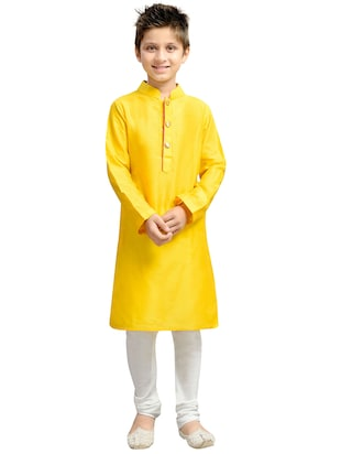 yellow cotton blend kurta set - 15288500 - Standard Image - 4