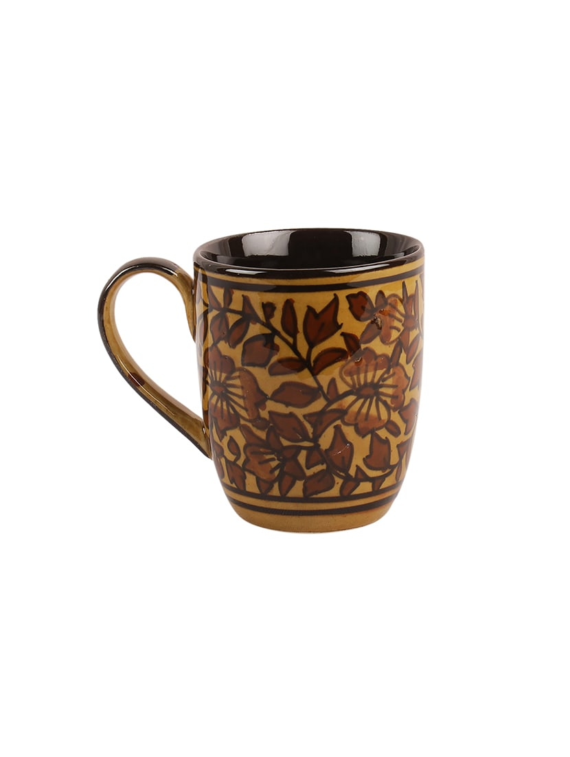 Hand Painted Brown Mughal Ceramic Tea Coffee Mugs Set Of 4 By Vareesha Online Ping For In India 15295829