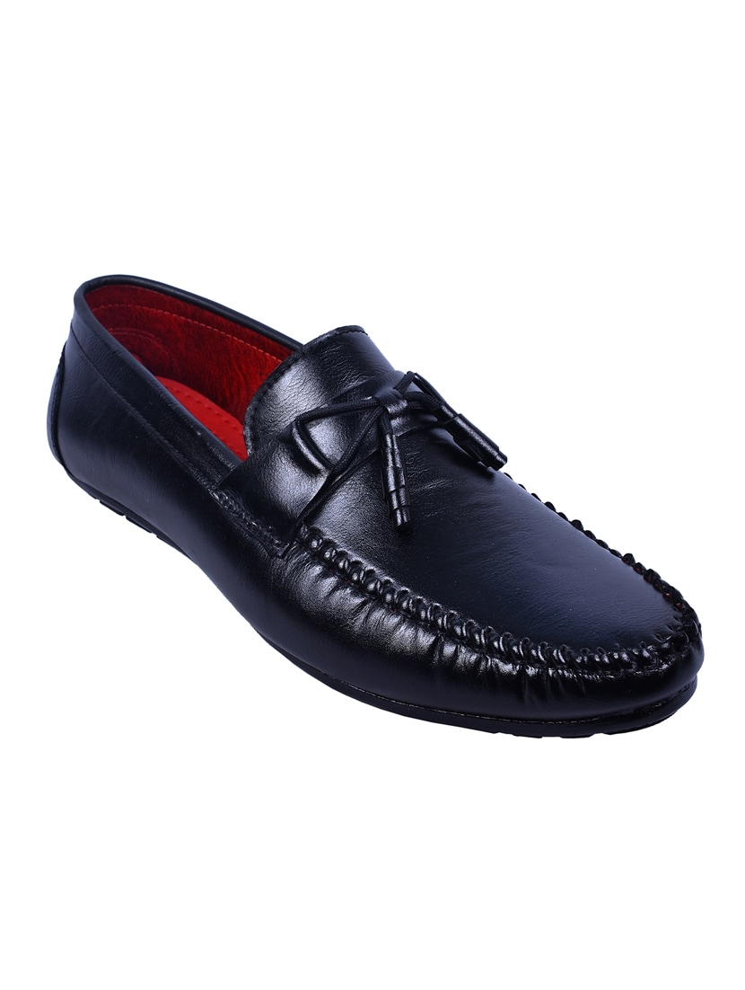 f92c573575c414 Buy Black Leatherette Slip On Loafer by Messi - Online shopping for Loafers  in India
