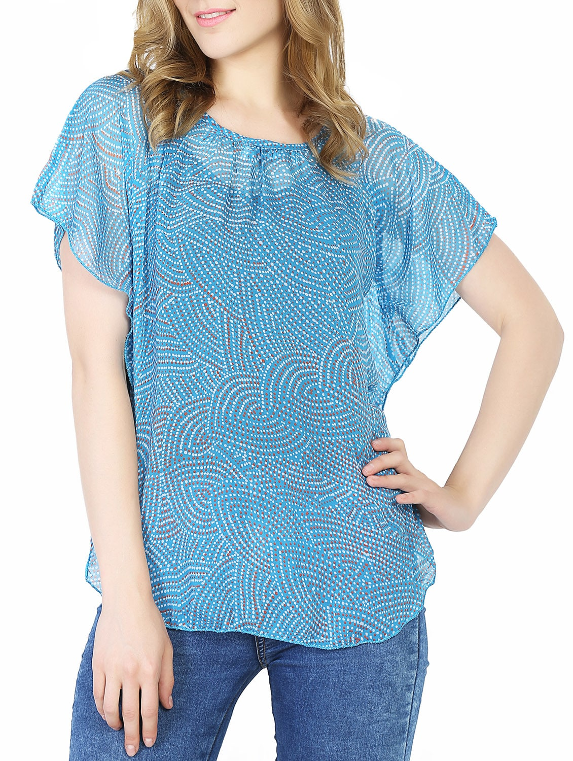 af3d2d5e7 Buy Blue Chiffon Printed Kimono Sleeved Top for Women from Damak for ₹405  at 42% off | 2019 Limeroad.com