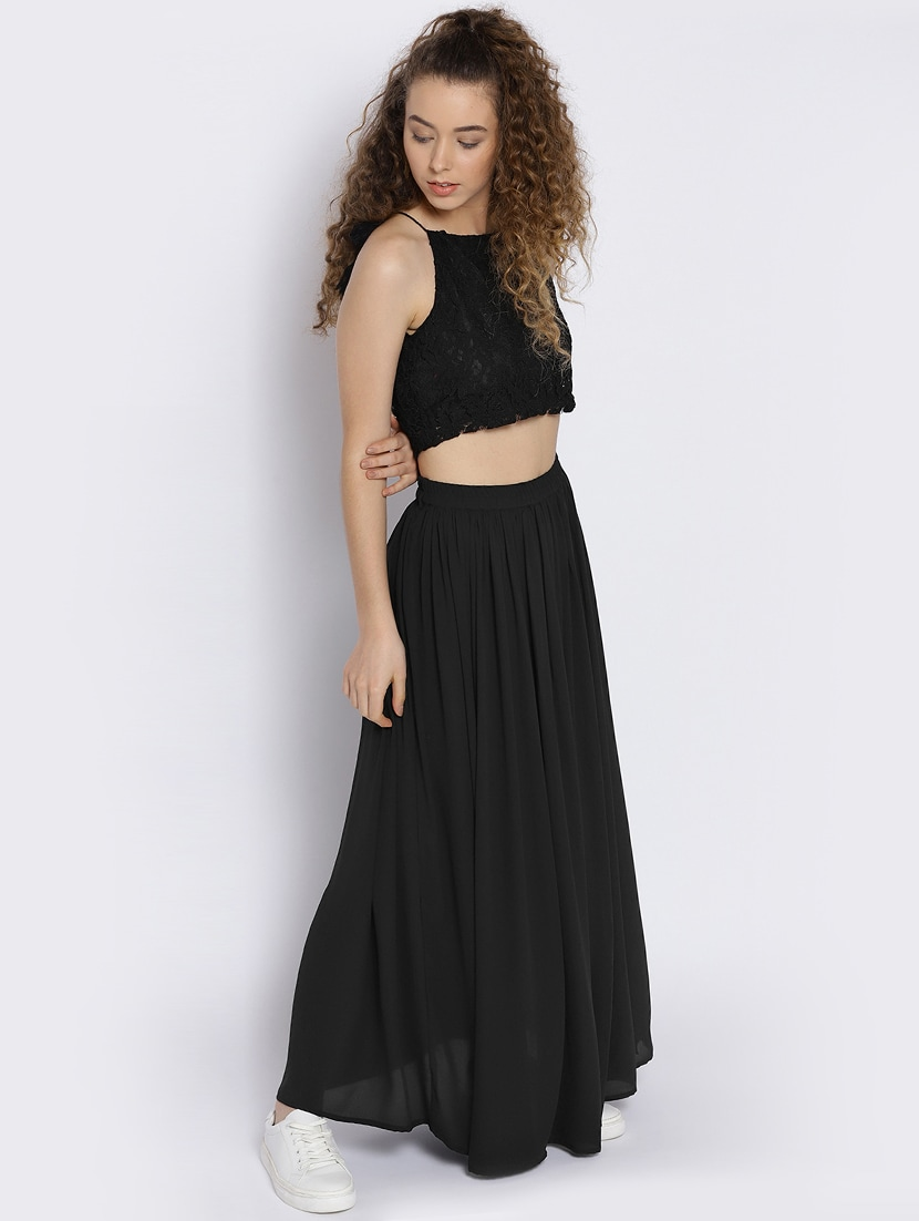 6fb487577d8a8 Buy Lace Crop Top And Maxi Skirt Set by Sera - Online shopping for Sets in  India