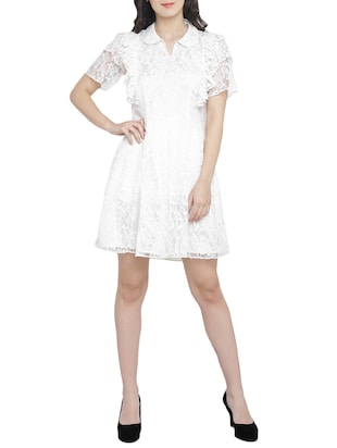 frill detail net fit & flare dress - 15301127 - Standard Image - 4