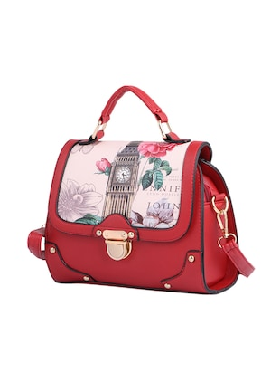 red leatherette (pu) regular sling bag - 15310950 - Standard Image - 4
