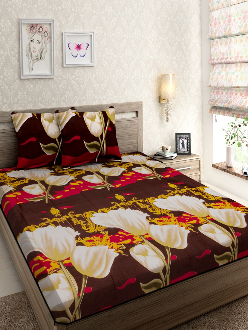 Buy Polycotton Double Bed Bedsheet With 2 Pillow Covers By Cuddles   Online  Shopping For Bed Sheet Sets In India | 15312587