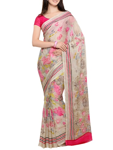floral chiffon printed saree with blouse - 15313878 - Standard Image - 1