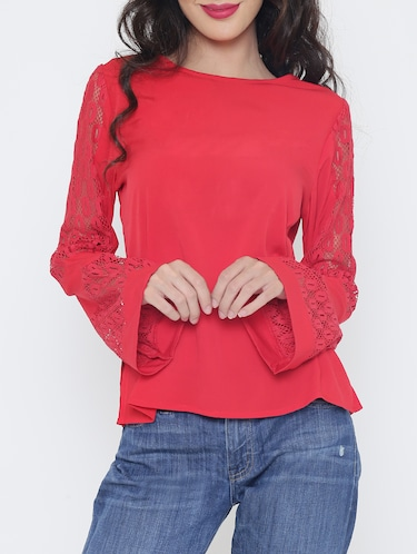 Lace panel bell sleeved top - 15321580 - Standard Image - 1