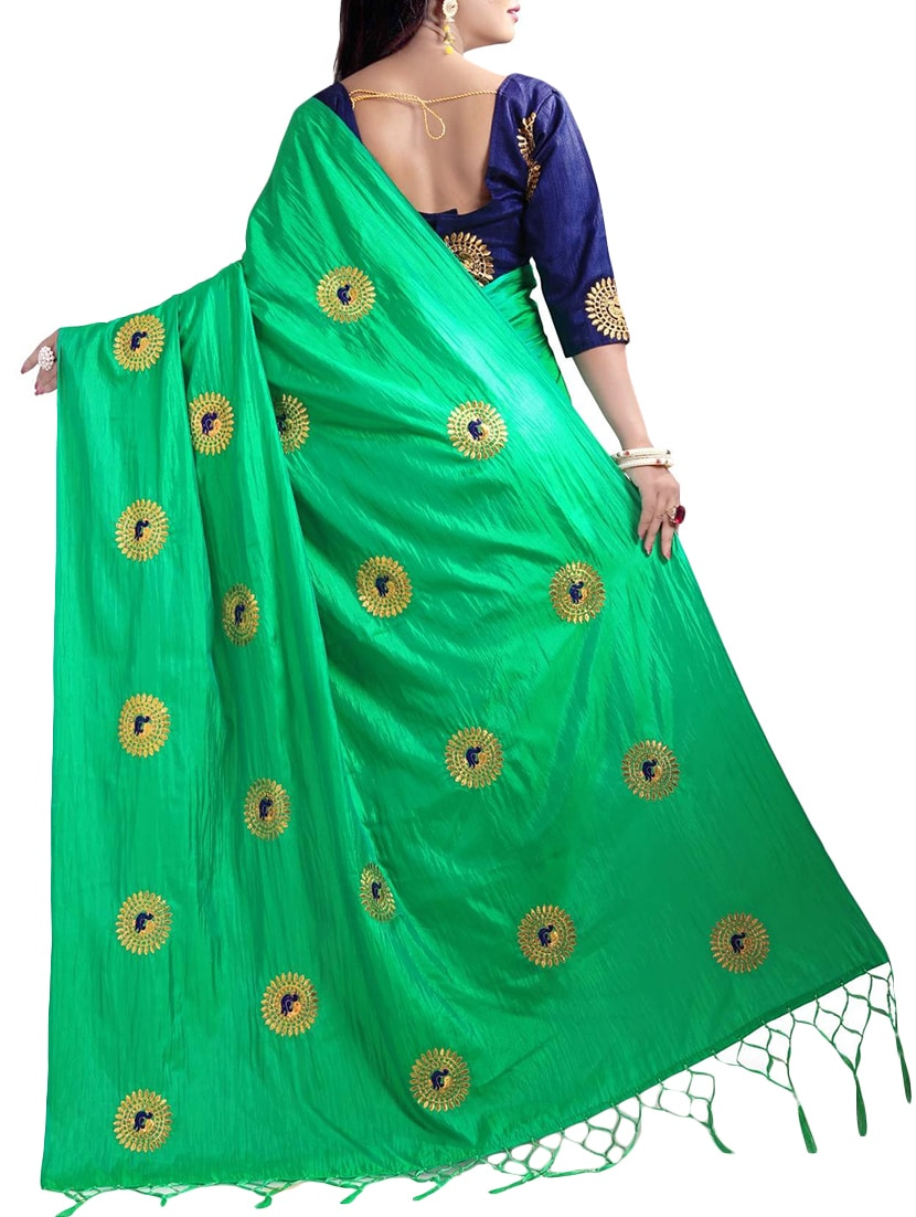33b0860c35fdf Buy Heavy Embroidered Silk Saree With Blouse for Women from Mastani for ₹ 1122 at 80% off