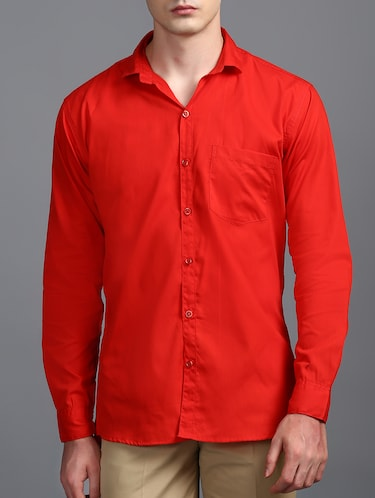 red cotton casual shirt - 15323338 - Standard Image - 1