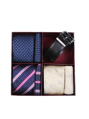 multi colored micro fiber tie with pocket square and belt - 15326425 - Standard Image - 7