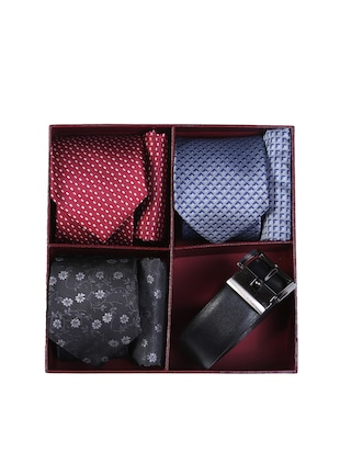 multi colored micro fiber tie with pocket square and belt - 15326437 - Standard Image - 7
