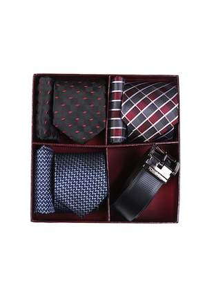 multi colored micro fiber tie with pocket square and belt - 15326439 - Standard Image - 7
