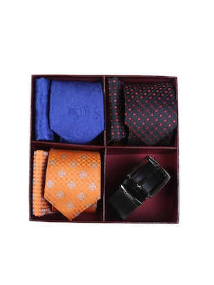 multi colored micro fiber tie with belt and pocket square - 15326440 - Standard Image - 7
