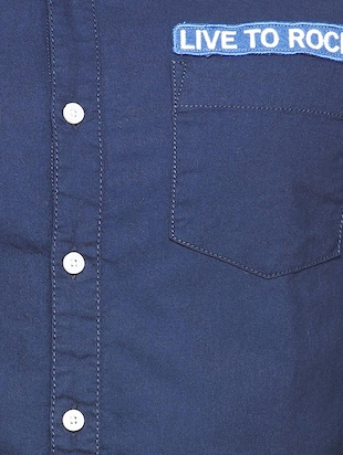 navy blue cotton casual shirt - 15327261 - Standard Image - 4