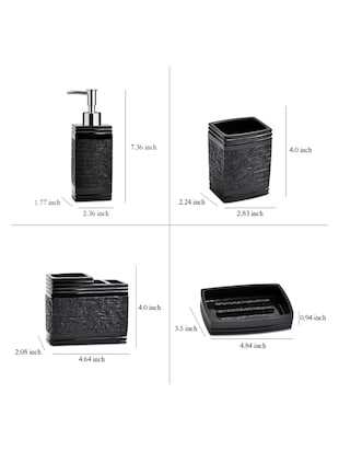 Black Polyresin Bath Set collection of liquid Soap Dispenser, Toothbrush Holder, Tumbler and Soap Dish - 15327395 - Standard Image - 4