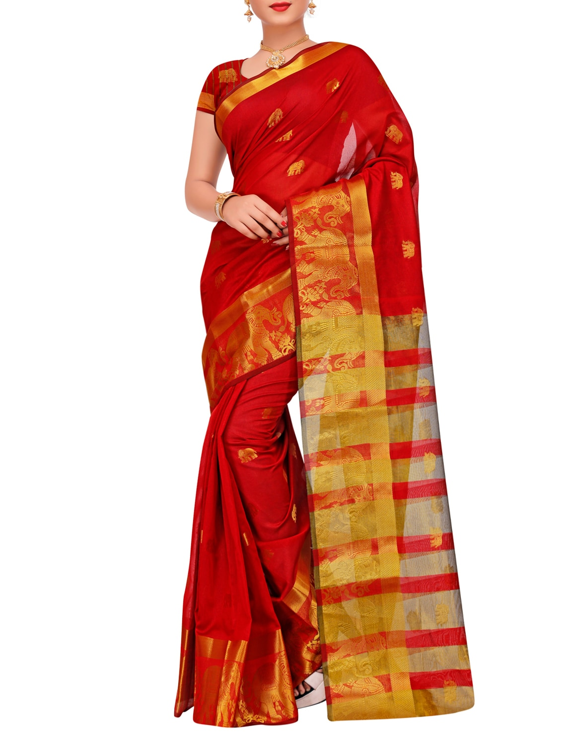 526134db52844a Buy Zari Woven Banarasi Saree With Blouse by Justfashion - Online shopping  for Sarees in India
