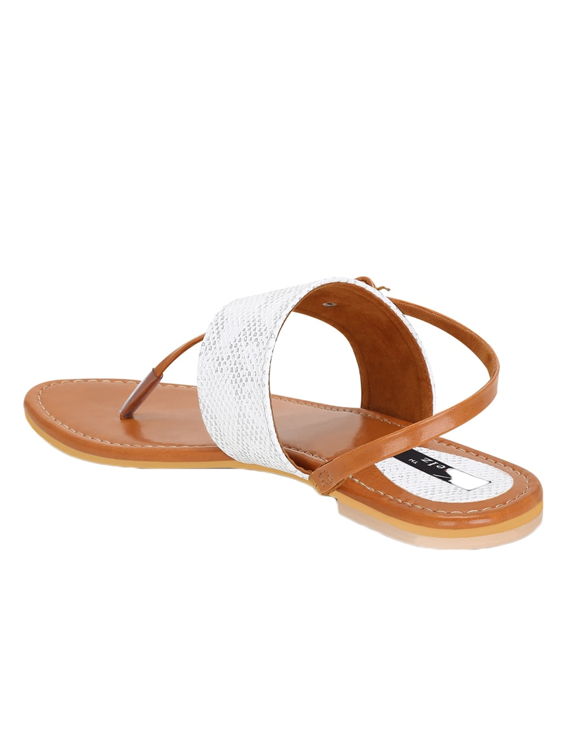6cfdeb7d90dbe9 Buy White Faux Leather Back Strap Sandals by Kielz - Online shopping for  Sandals in India