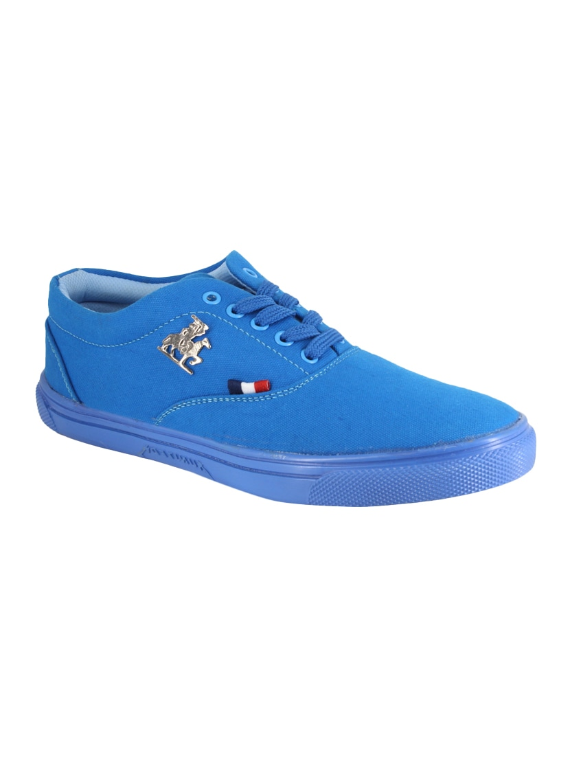 Buy online Blue Canvas Lace Up Sneaker