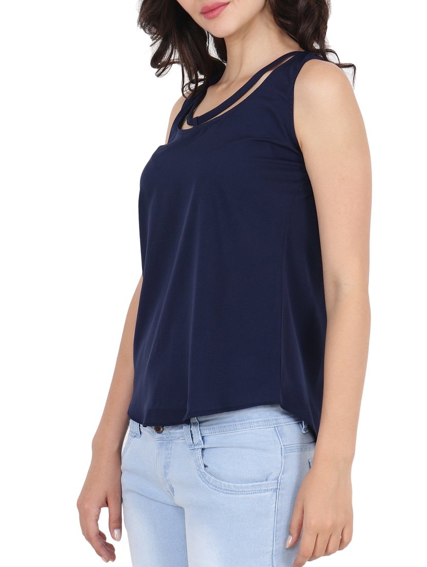ad1eb698ff15a Buy Round Neck Sleeveless Top for Women from Both11 for ₹383 at 52% off