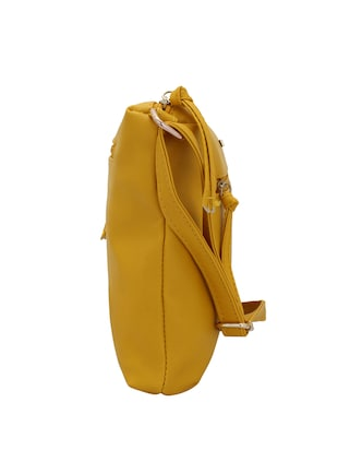 yellow leatherette (pu) regular sling bag - 15338891 - Standard Image - 4