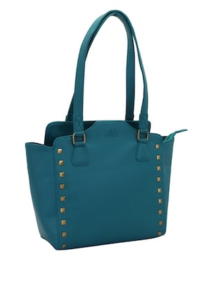 blue leatherette (pu) regular handbag - 15338916 - Standard Image - 4
