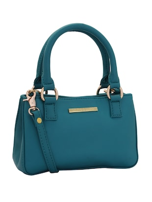 blue leatherette (pu) regular handbag - 15338930 - Standard Image - 4