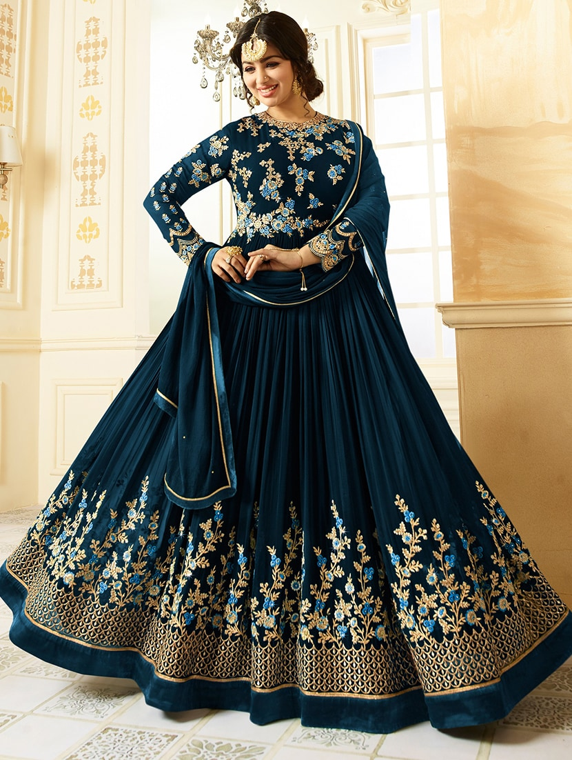 b7e3b4eae1 Buy Embroidered Semi-stitched Flared Suit for Women from Yoyo Fashion for  ₹2017 at 66% off   2019 Limeroad.com