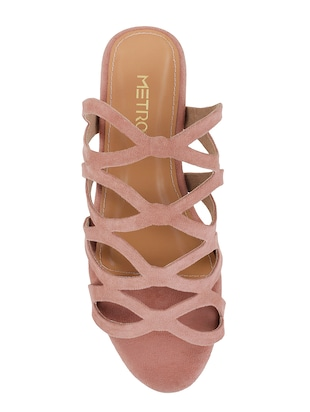 pink faux leather slip on sandals - 15339461 - Standard Image - 4